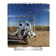 Two Astronauts Take A Ride On Scout Shower Curtain