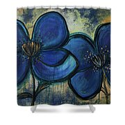 Two Blue Poppies Shower Curtain