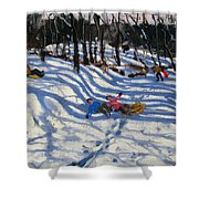 Two Boys Falling Off A Sledge Shower Curtain