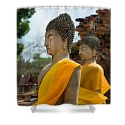 Two Buddha Statues Wrapped In An Orange Scarf  Shower Curtain