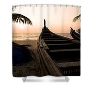 Two Canoes On The Beach At The Arabian Shower Curtain