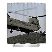 Two Ch-47 Chinook Helicopters In Flight Shower Curtain
