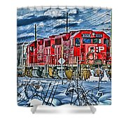 Two Cp Rail Engines Hdr Shower Curtain