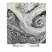 Two Cyclones Forming Shower Curtain