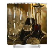 Two Decanters Of Port Wine And Glasses Shower Curtain