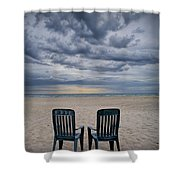 Two Deck Chairs At Sunrise On The Beach Shower Curtain