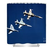 Two F-5 Tiger IIs And An A-4e Skyhawk Shower Curtain