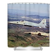 Two F-5e Tiger IIs In Flight Shower Curtain