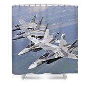 Two Fa-18 Hornets And Two F-15 Strike Shower Curtain