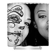 Two Faces In Black And White Shower Curtain