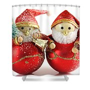 Two Father Christmas Decorations Shower Curtain