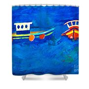 Two Fishing Boats At Sea Shower Curtain