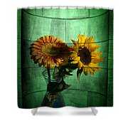 Two Flowers On Texture Shower Curtain