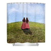 Two Girls In Vintage Dresses Walking Up Grassy Hill Shower Curtain