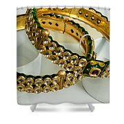 Two Green And Gold Bangles On Top Of Each Other Shower Curtain