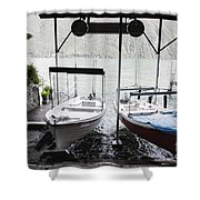 Two Hanging Boats Shower Curtain
