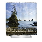 Two Hikers Walk On Beach With Sea Shower Curtain