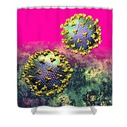 Two Hiv Particles On Hot Pink Shower Curtain