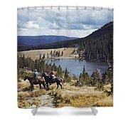 Two Horsemen Ride Above Pecos Baldy Shower Curtain