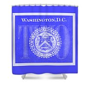 Two In Negative Blue Shower Curtain