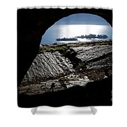 Two Islands On A Lake With A Arch Shower Curtain