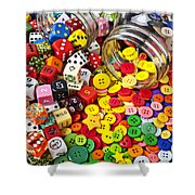 Two Jars Dice And Buttons Shower Curtain