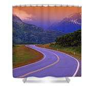 Two Lane Country Road In Mountains Shower Curtain