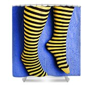 Two Legs Against Blue Wall Shower Curtain