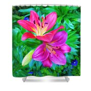 Two Lily Flowers Shower Curtain