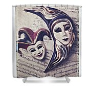 Two Masks On Sheet Music Shower Curtain