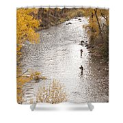 Two Men Flyfishing On The Aspen-lined Shower Curtain