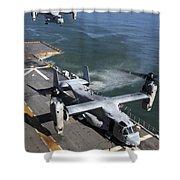 Two Mv-22 Ospreys Land On The Flight Shower Curtain