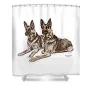 Two Of A Kind - German Shepherd Dogs Print Color Tinted Shower Curtain