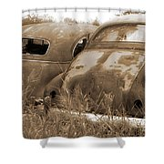 Two Old Rear Ends-sepia Shower Curtain