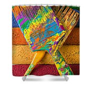 Two Paintbrushes On Paint Rollers Shower Curtain
