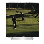 Two People Play Golf While Elk Graze Shower Curtain