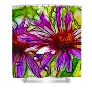 Two Purple Daisy's Fractal Shower Curtain