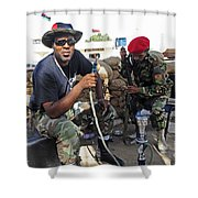 Two Rebel Fighters Man A Checkpoint Shower Curtain