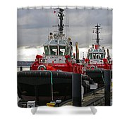 Two Red Tugs Shower Curtain