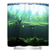 Two Scuba Divers In The Cenote System Shower Curtain by Karen Doody