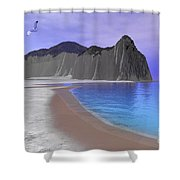 Two Seagulls Fly Over A Beautiful Ocean Shower Curtain by Corey Ford