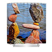 Two Stacks Of Balanced Rocks Shower Curtain