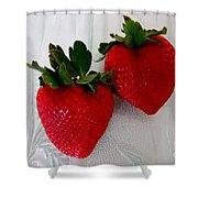 Two Strawberries On A Glass Plate Shower Curtain
