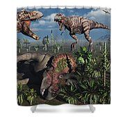 Two T. Rex Dinosaurs Confront Each Shower Curtain by Mark Stevenson