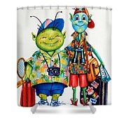 Two Tourists True Shower Curtain