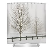 Two Trees And Fence In Winter Fog Shower Curtain