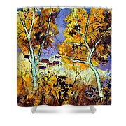 Two Trees In Fall Shower Curtain