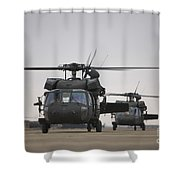 Two Uh-60 Black Hawks Taxi Shower Curtain by Terry Moore