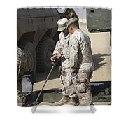 Two U.s. Marines Use A Mine Detector Shower Curtain