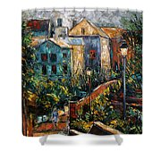 Two Village Lamps Shower Curtain